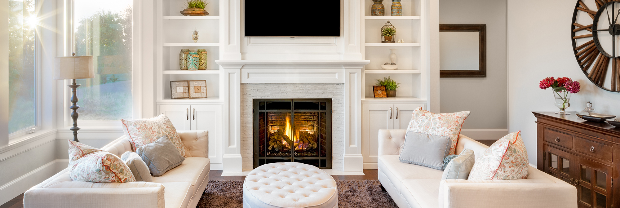While Living Room with Fireplace